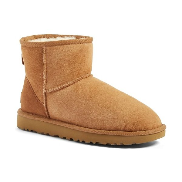 UGG ugg classic mini ii genuine shearling lined boot in chestnut suede