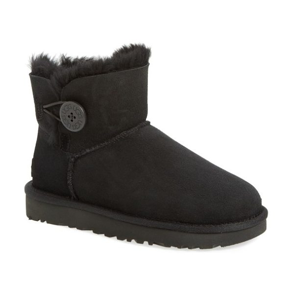 UGG ugg mini bailey button ii genuine shearling boot in black suede