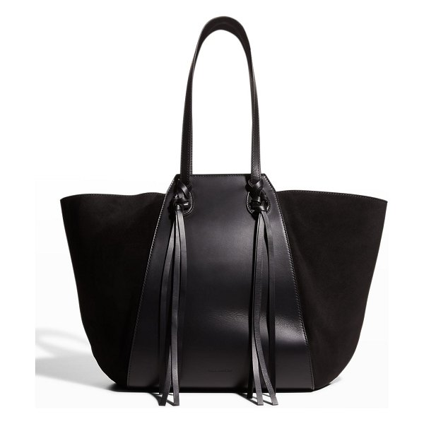 Ulla Johnson Imogen Large Mix-Leather Carryall Tote Bag in noir
