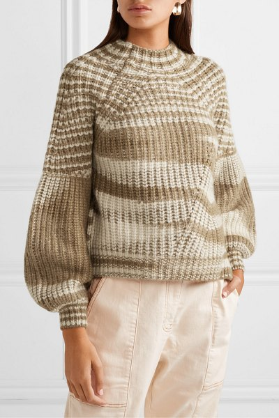 Ulla Johnson lucille striped ribbed alpaca-blend sweater in camel