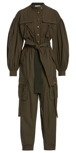 Ulla Johnson reverie belted cotton jumpsuit in green