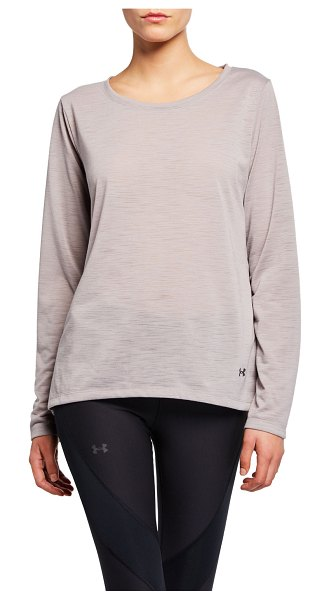 Under Armour Whisperlight Long-Sleeve Open-Back Performance Top in gray