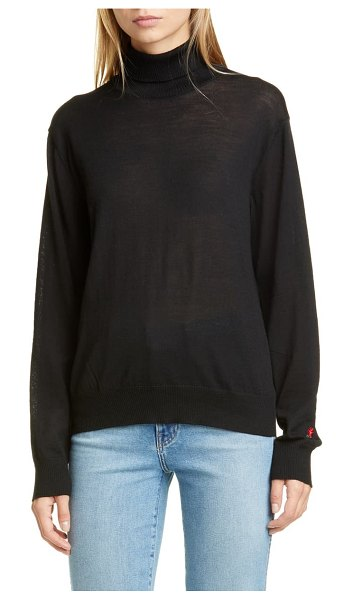 Undercover rose embroidered wool turtleneck sweater in l black