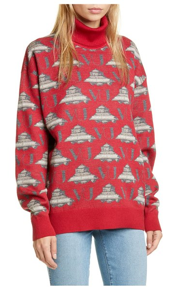 Undercover x valentino ufo jacquard wool turtleneck sweater in a red base