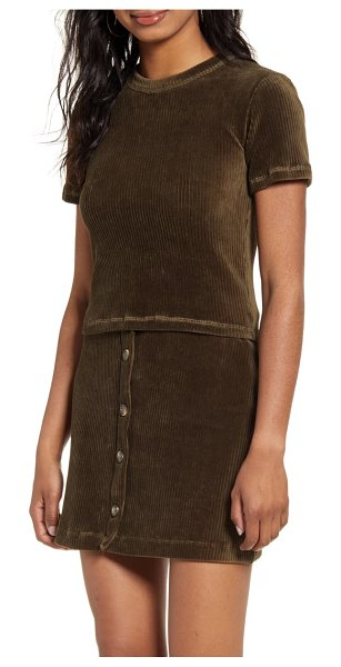 UNIONBAY adella ribbed velour crop tee in olive night
