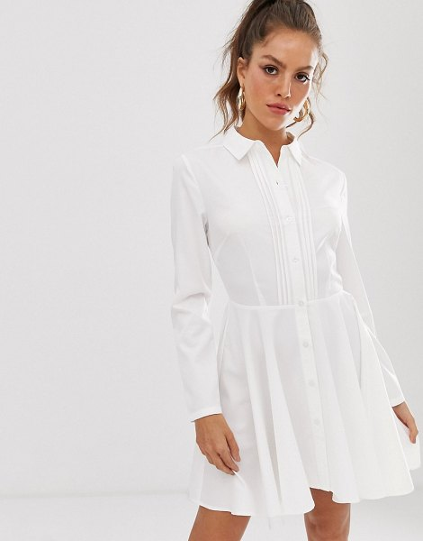 UNIQUE21 pleated front shirt dress-white in white
