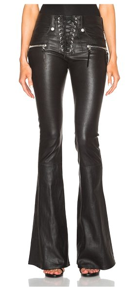 Unravel Lace Front Flare Leather Pants in black - 100% lambskin leather.  Made in USA.  Lace up front. ...