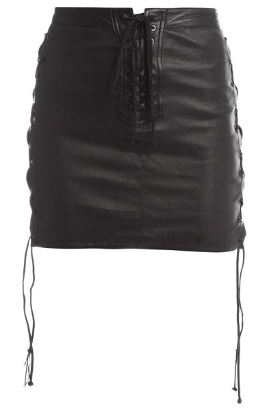 Unravel Project lace-up leather skirt in black