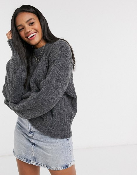 Urban Bliss balloon sleeve cable knit sweater in medium gray in gray