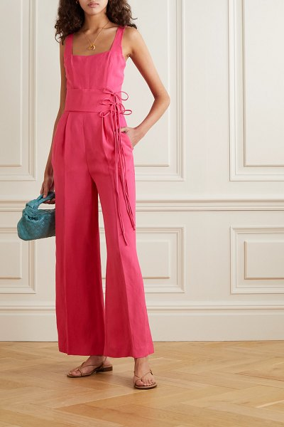 USISI SISTER gloria belted woven jumpsuit in fuchsia