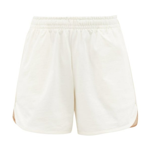 Vaara teller wide-leg cotton-jersey running shorts in white