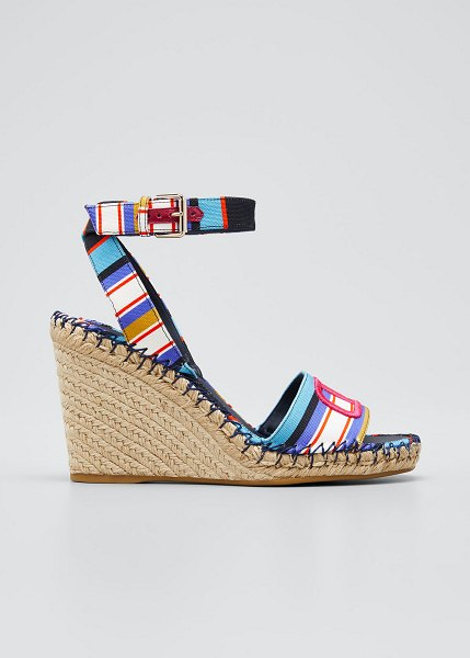 Valentino 105mm Striped Wedge Espadrilles in blue/red
