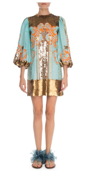 Valentino 1/2-Sleeve Sequin Embroidered Cocktail Dress in blue/gold