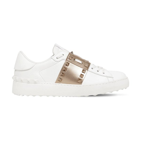 Valentino 20mm untitled leather sneakers in white,gold
