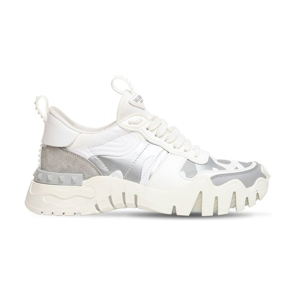 Valentino 30mm rockrunner plus canvas sneakers in white,silver