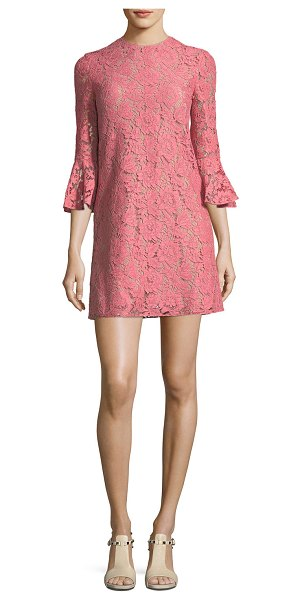 VALENTINO 3/4-Sleeve Heavy Lace Shift Dress - Valentino dress in heavy lace. Jewel neckline....