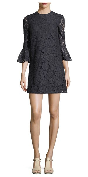 Valentino 3/4-Sleeve Heavy Lace Shift Dress in navy - Valentino dress in heavy lace. Jewel neckline....