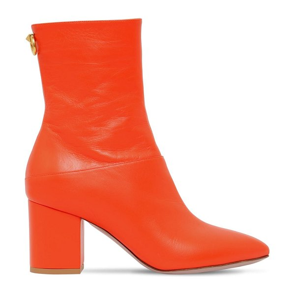 Valentino 70mm ringstud leather ankle boots in orange