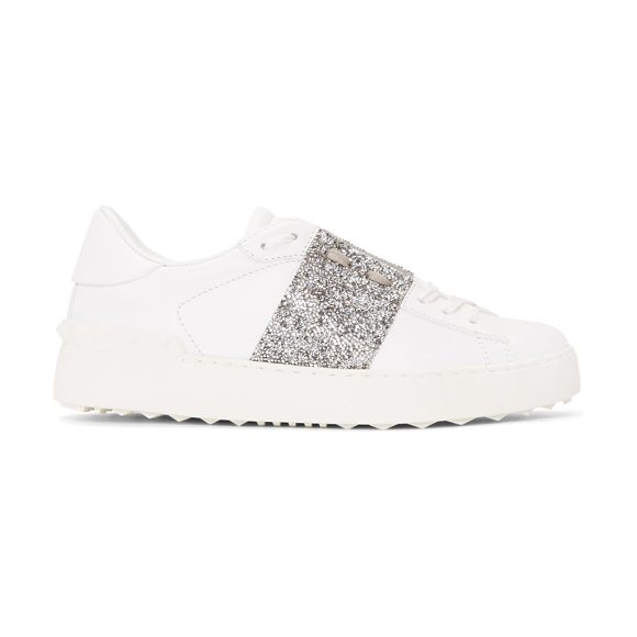 4a6df6deab00 Valentino And Silver Garavani Crystal Open Sneakers in White