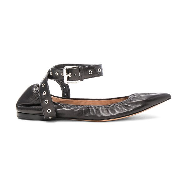 VALENTINO Ankle Strap Leather Ballerina Flats in black - Leather upper and sole.  Made in Italy.  Rubber tap...