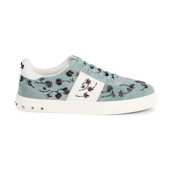 Valentino Beaded Suede Rockstud Sneakers in blue