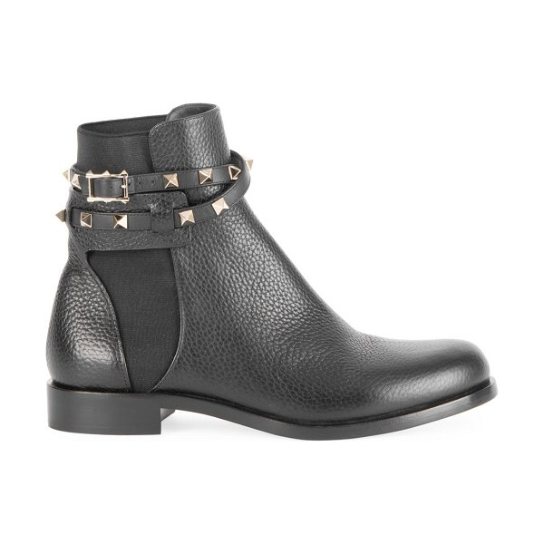 Valentino garavani rockstud leather ankle boots in black