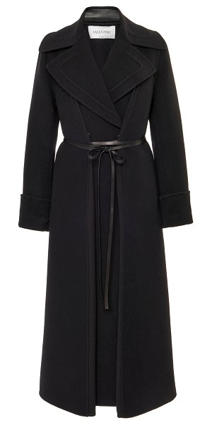 Valentino belted wool coat in black