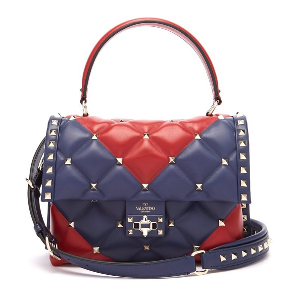 Valentino candystud quilted leather cross body bag in red navy