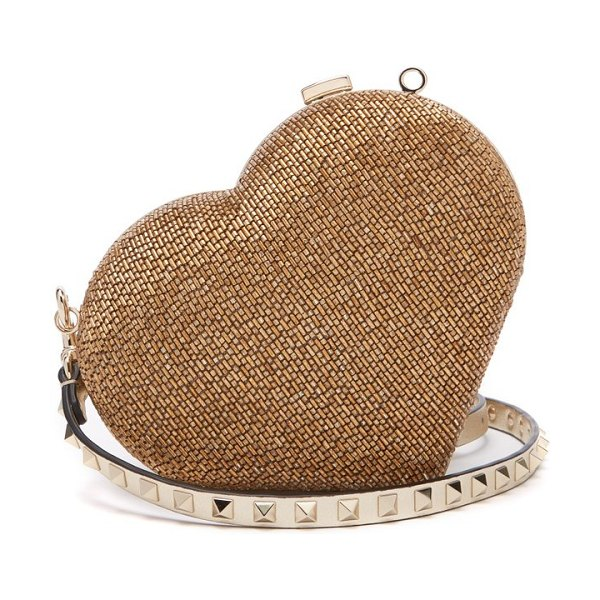 Valentino carry secrets bead embellished heart clutch in gold