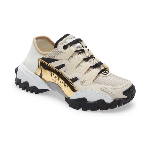 Valentino climbers convertible sneaker in light ivor/ brass
