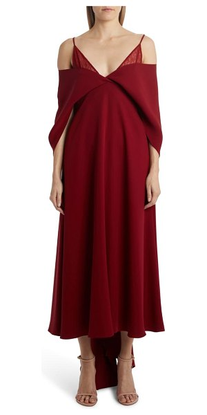 Valentino cold shoulder cape sleeve silk cady gown in cremisi