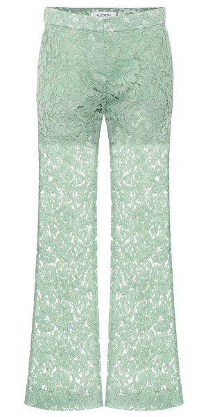Valentino cotton-blend lace pants in green