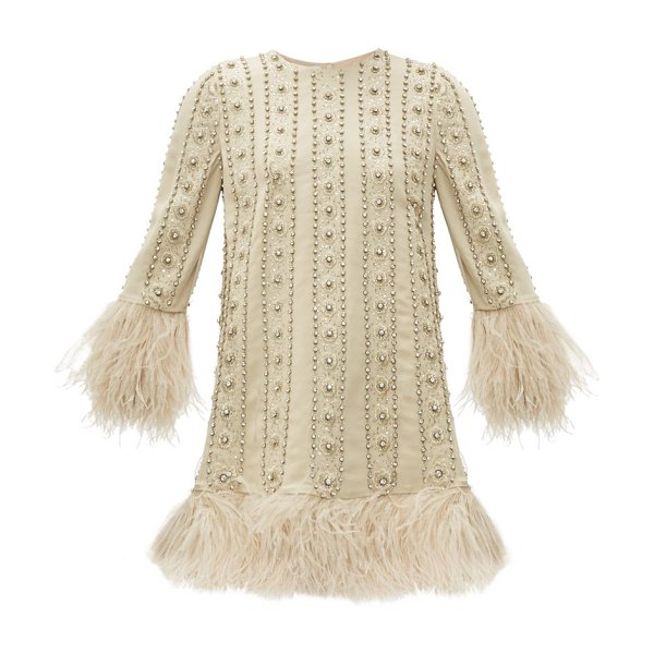 Valentino crystal & feather-embroidered silk-crepe dress in ivory multi