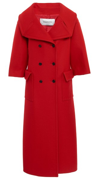 Valentino double-breasted wool-blend coat in red
