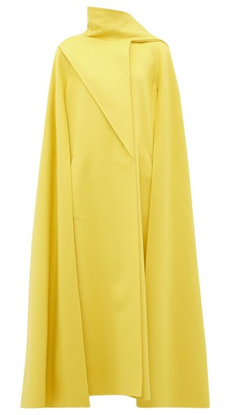 Valentino draped-panel wool-blend cape coat in yellow