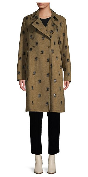 Valentino Embroidered Floral Wool-Blend Coat in army green