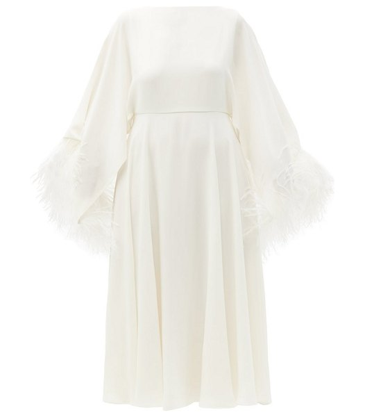 Valentino feather-trimmed silk-georgette midi dress in ivory