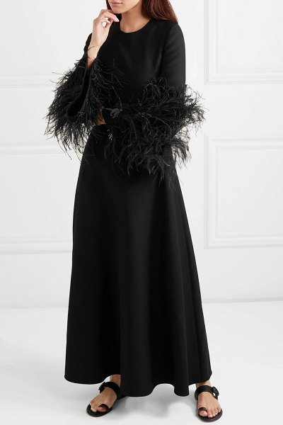 Valentino feather-trimmed wool and silk-blend maxi dress in black - Pierpaolo Piccioli opened Valentino's Spring '19 runway...