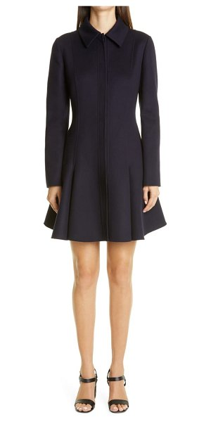 Valentino flared compact wool & cashmere coat in navy