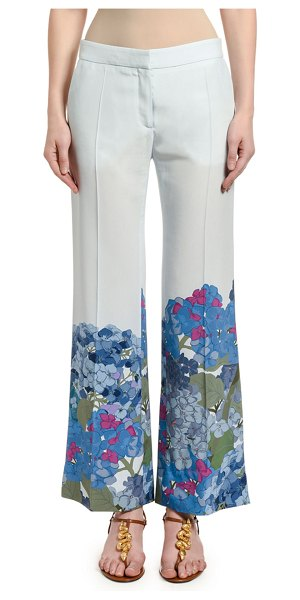 Valentino Floral-Cuff Silk Wide-Leg Pants in white pattern