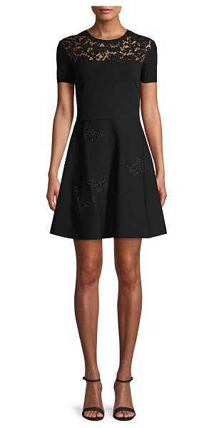 Valentino Floral Lace A-Line Dress in nero