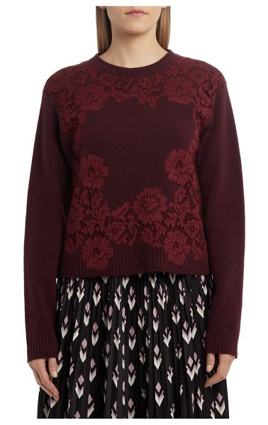 Valentino floral lace wool & cashmere sweater in garnet