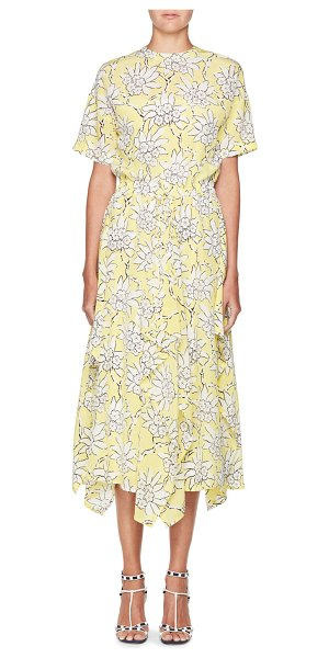Valentino Floral-Print Short-Sleeve A-Line Midi Dress in yellow/white - Valentino dress with rhododendron floral-print. High...