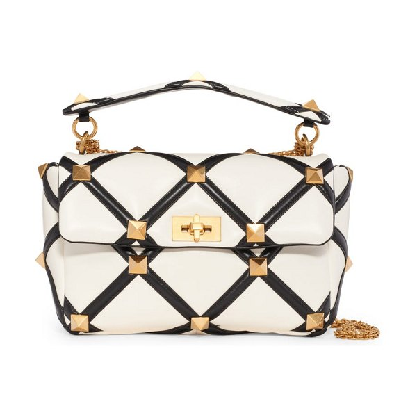 Valentino garavani large roman stud inlay leather top handle bag in ivory nero at nordstrom in ivory nero