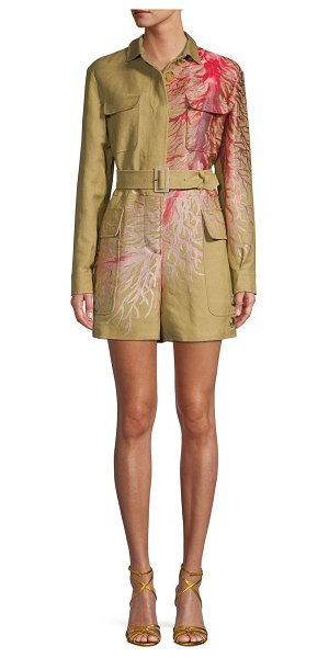 Valentino Graphic Cotton-Blend Belted Romper in corda
