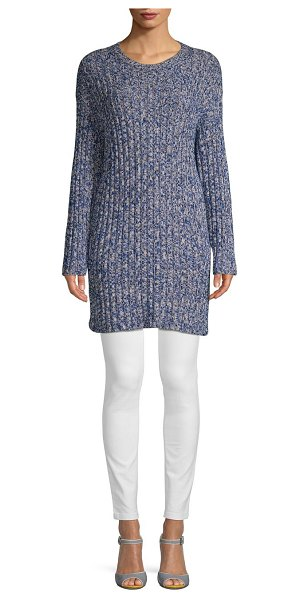Valentino Heathered Long-Sleeve Sweater in denim blue - On-trend sweater tailored from soft cotton-blend fabric....