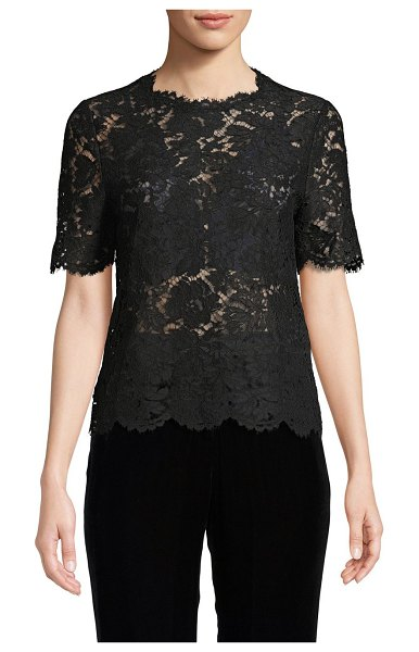 Valentino Lace Cotton-Blend Top in grey