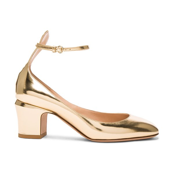 Valentino Leather Tan-Go Pumps in metallics - Leather upper and sole.  Made in Italy.  Approx 65mm/...