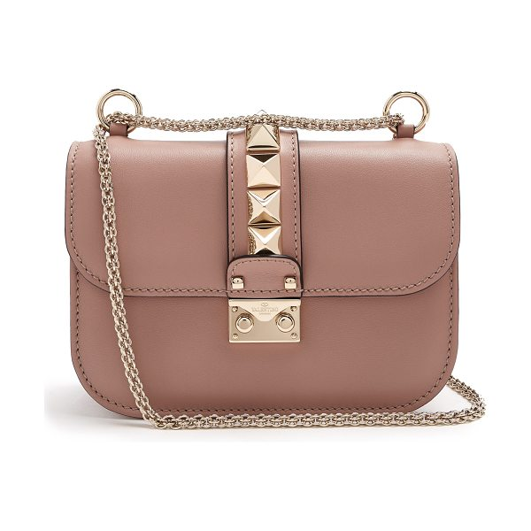 Valentino Lock small leather shoulder bag in nude - Tap into Valentino's Rockstud aesthetic via the small...