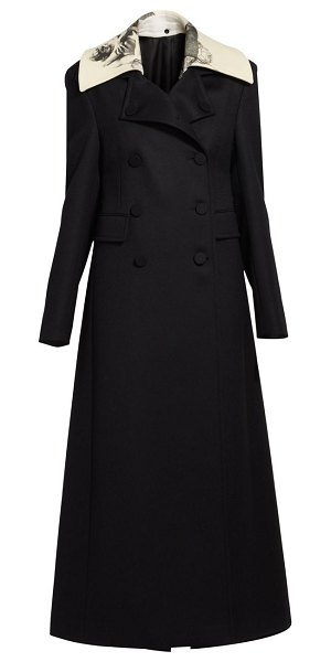 Valentino long double-breasted wool coat in black
